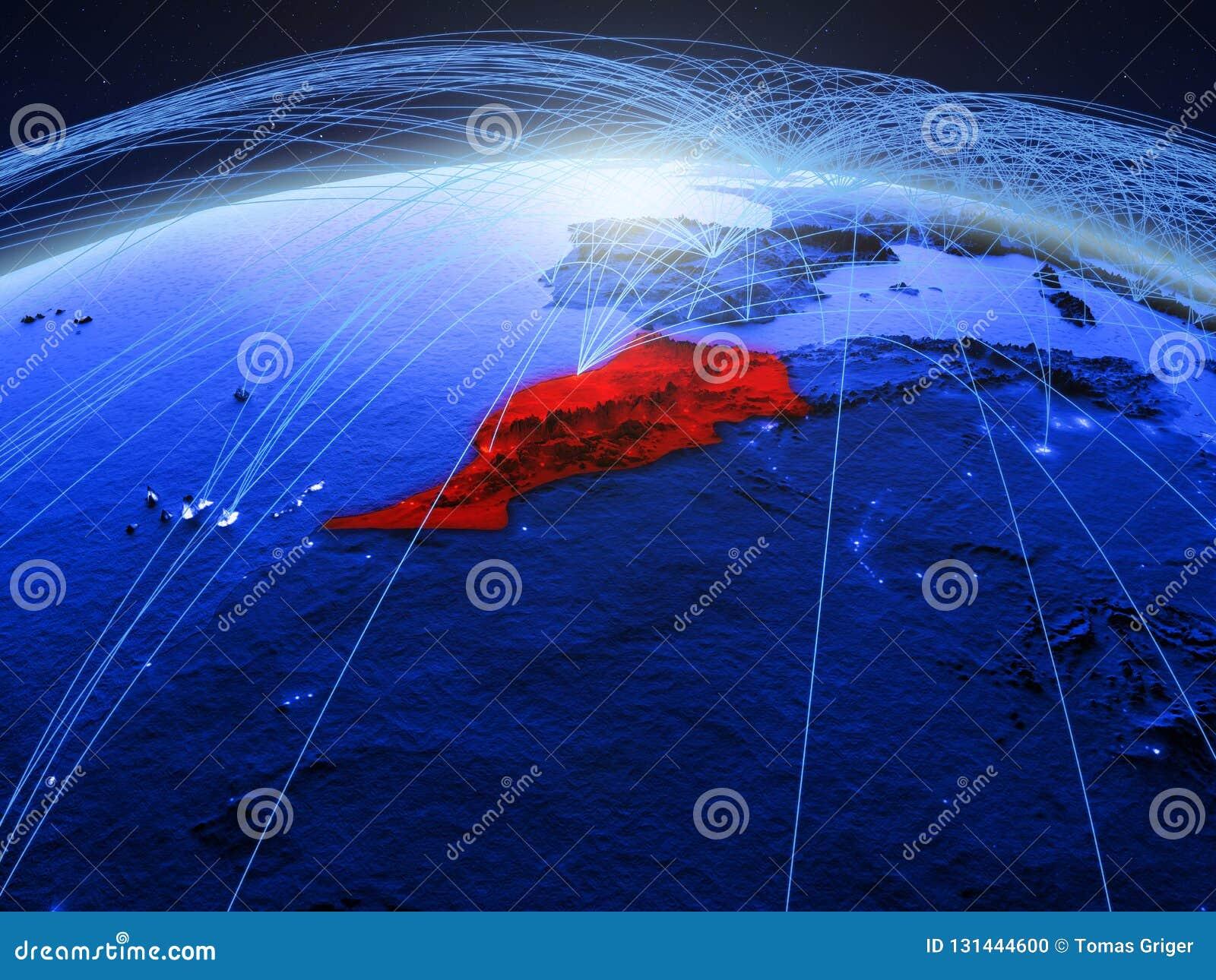 Marokko op blauwe digitale aarde met internationaal netwerk die mededeling, reis en verbindingen vertegenwoordigen 3d