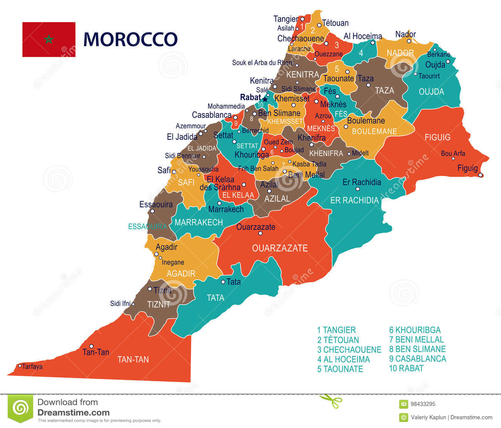 Maroko Mapa I Flaga Ilustracja Ilustracji Ilustracja