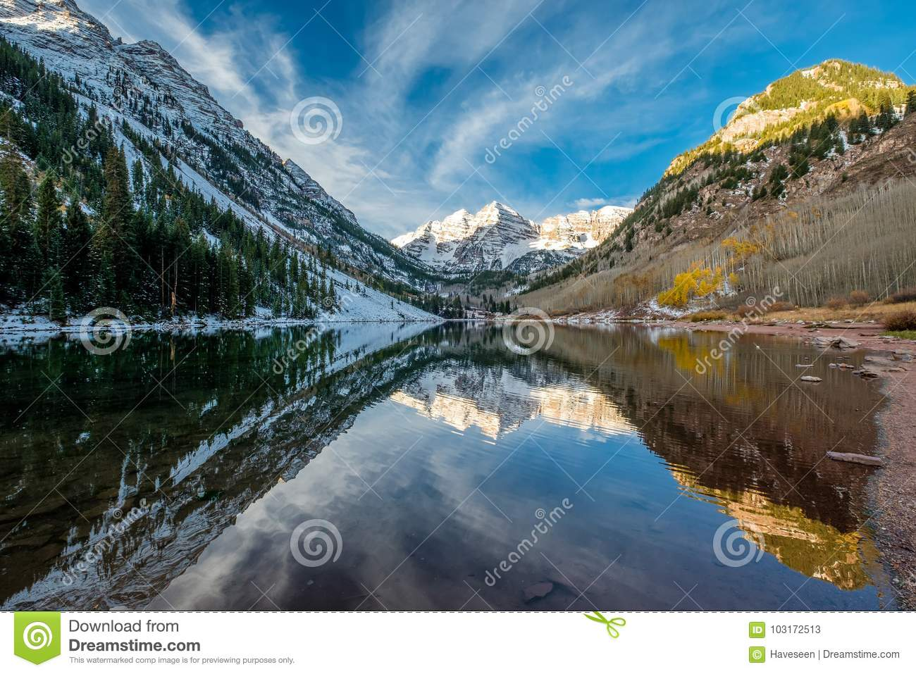 Maroon Bells And Maroon Lake Landscape Stock Image - Image