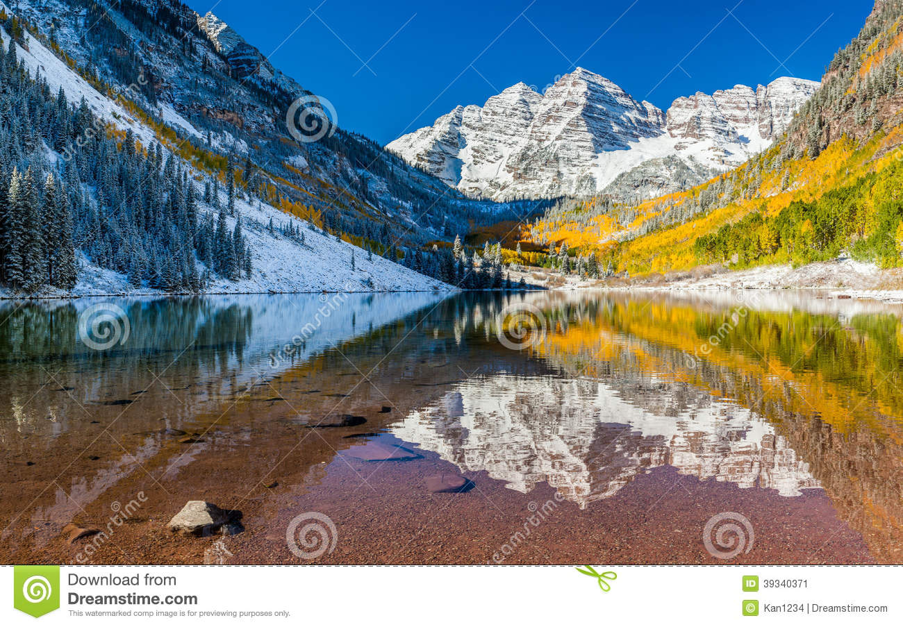 Maroon Bells National Park In Falls Aspen Co Stock Image