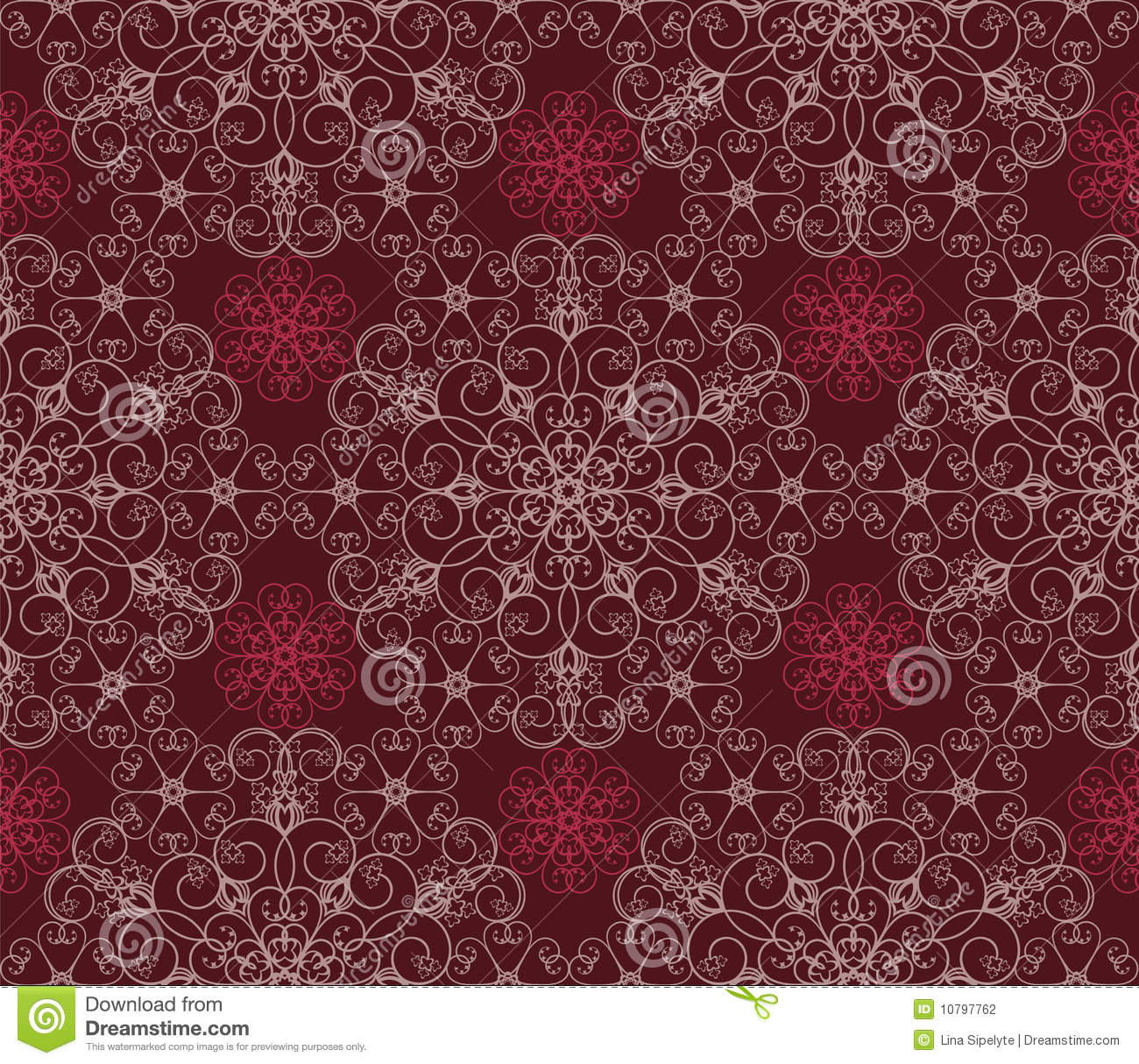 Maroon Floral Seamless Wallpaper Pattern Stock Vector
