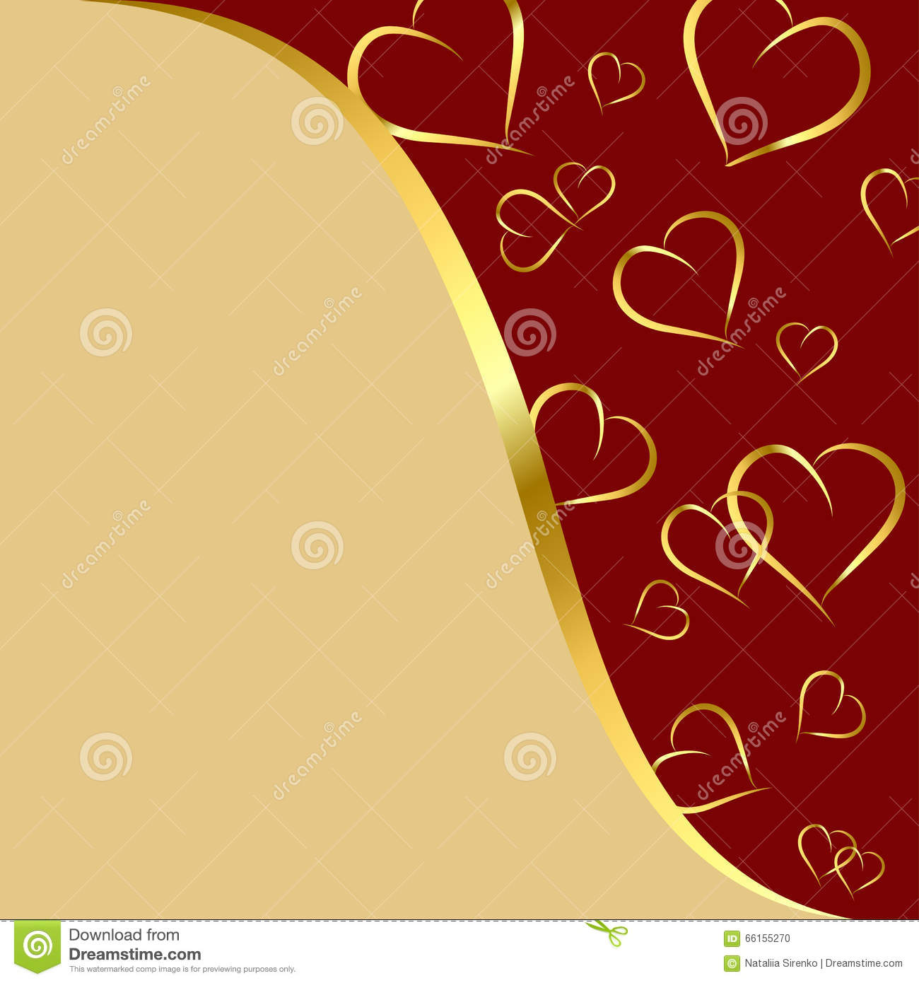 Maroon And Gold Background With Hearts Stock Illustration ...