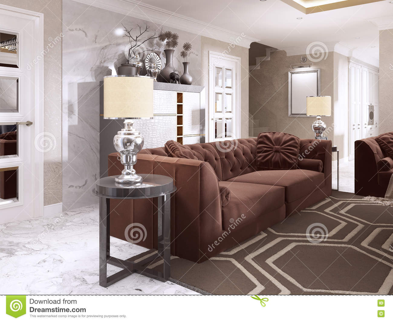 Maroon Sofa With Black Side Tables And Table Lamps. Burgundy Sofa Living  Room Style Art Deco. 3D Render.
