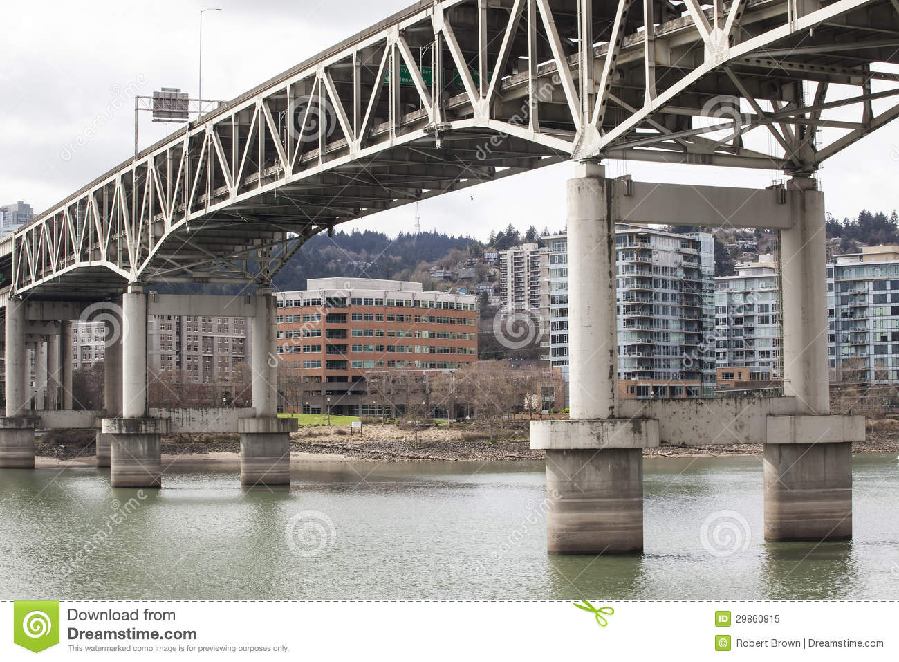 Marquam Bridge with Downtown Portland in the Background