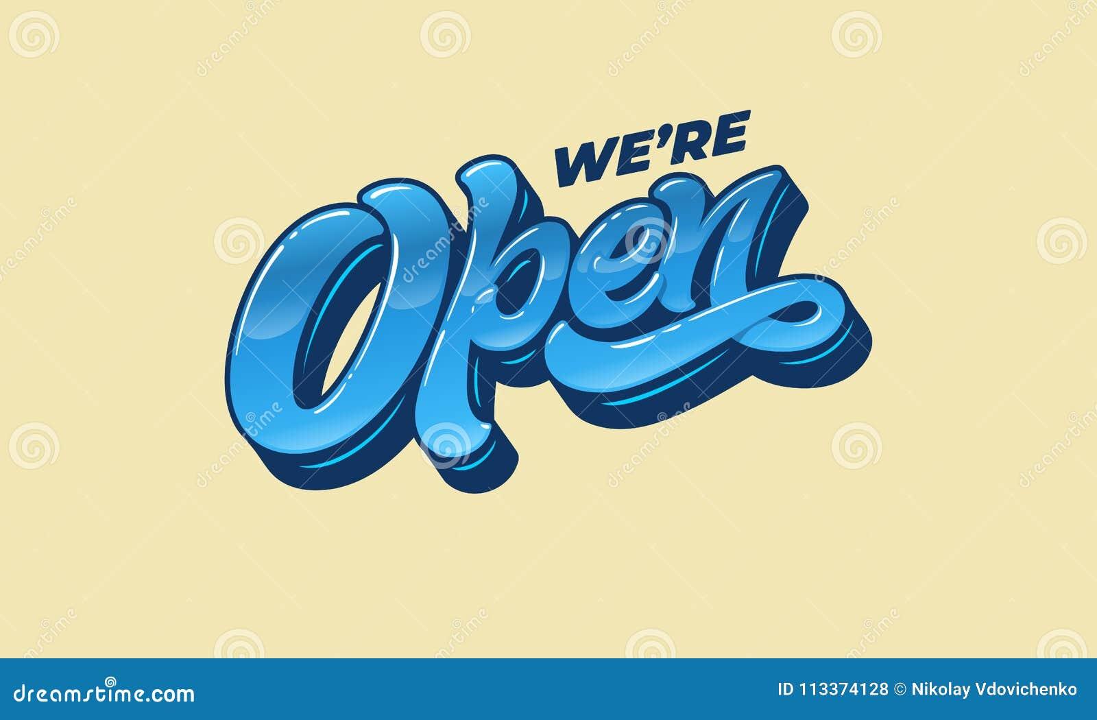 Marquant avec des lettres NOUS ` AU SUJET D OUVERT pour la conception d un connecter la porte d une boutique, d un café, d une ba