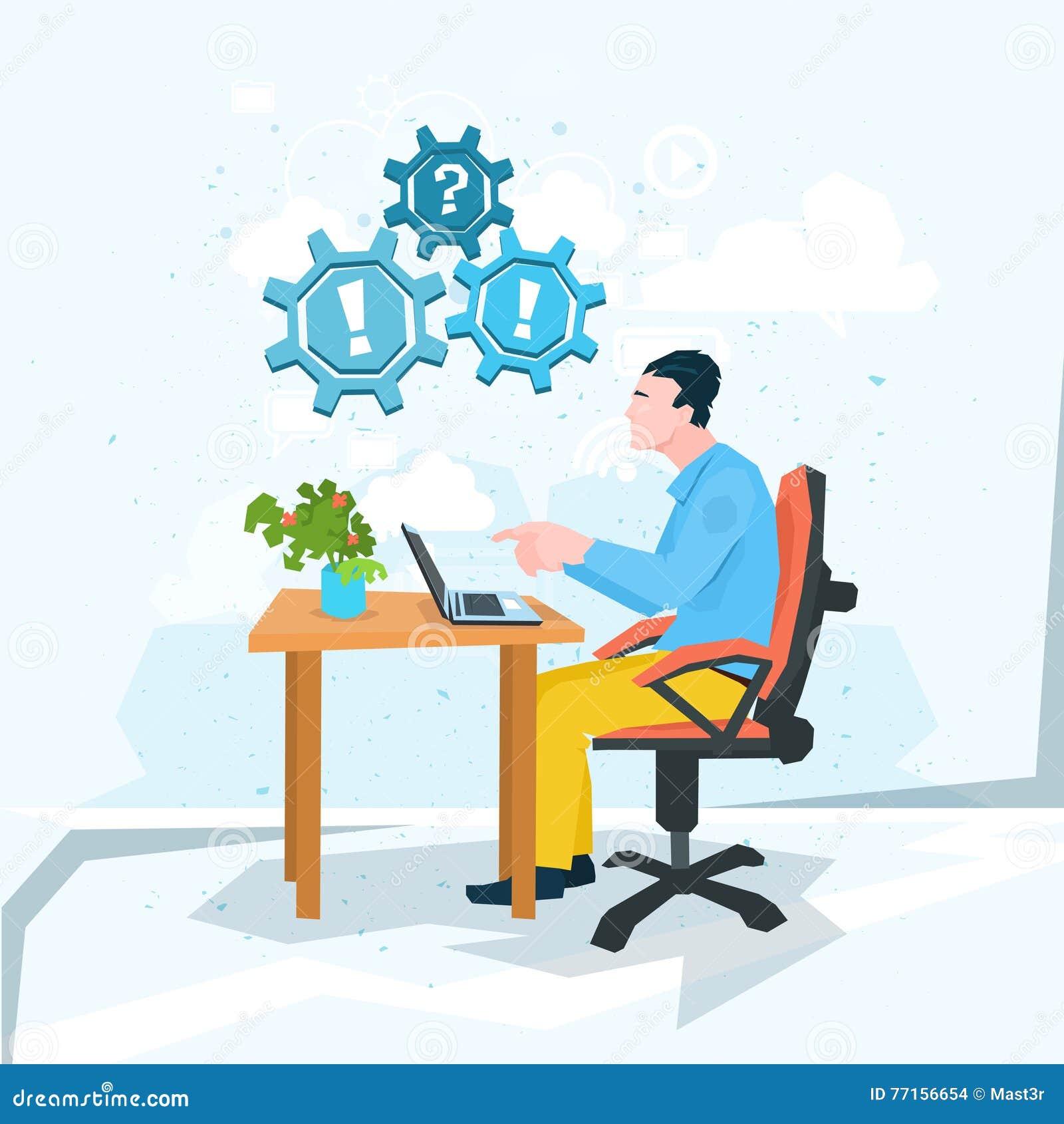 Marque d exclamation de question de problème d ordinateur portable de travail d homme d affaires