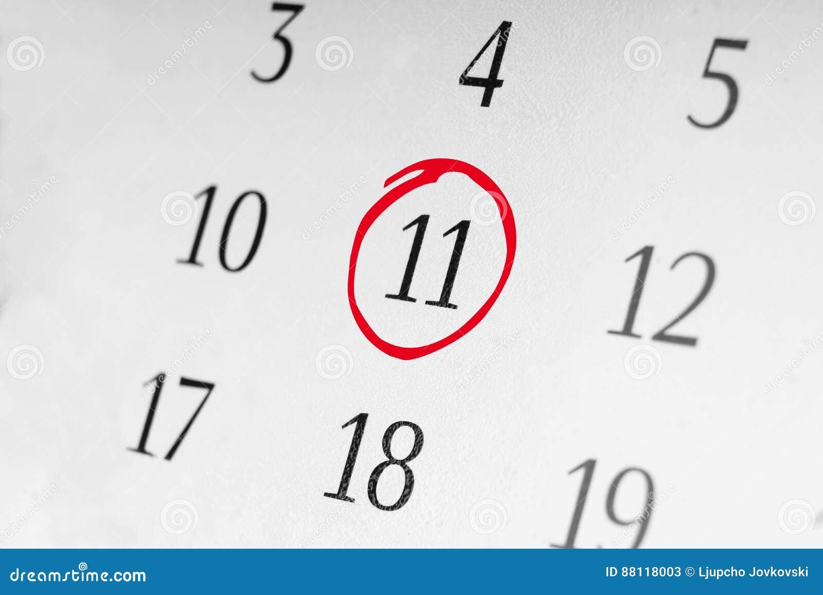 Marque a data número 11