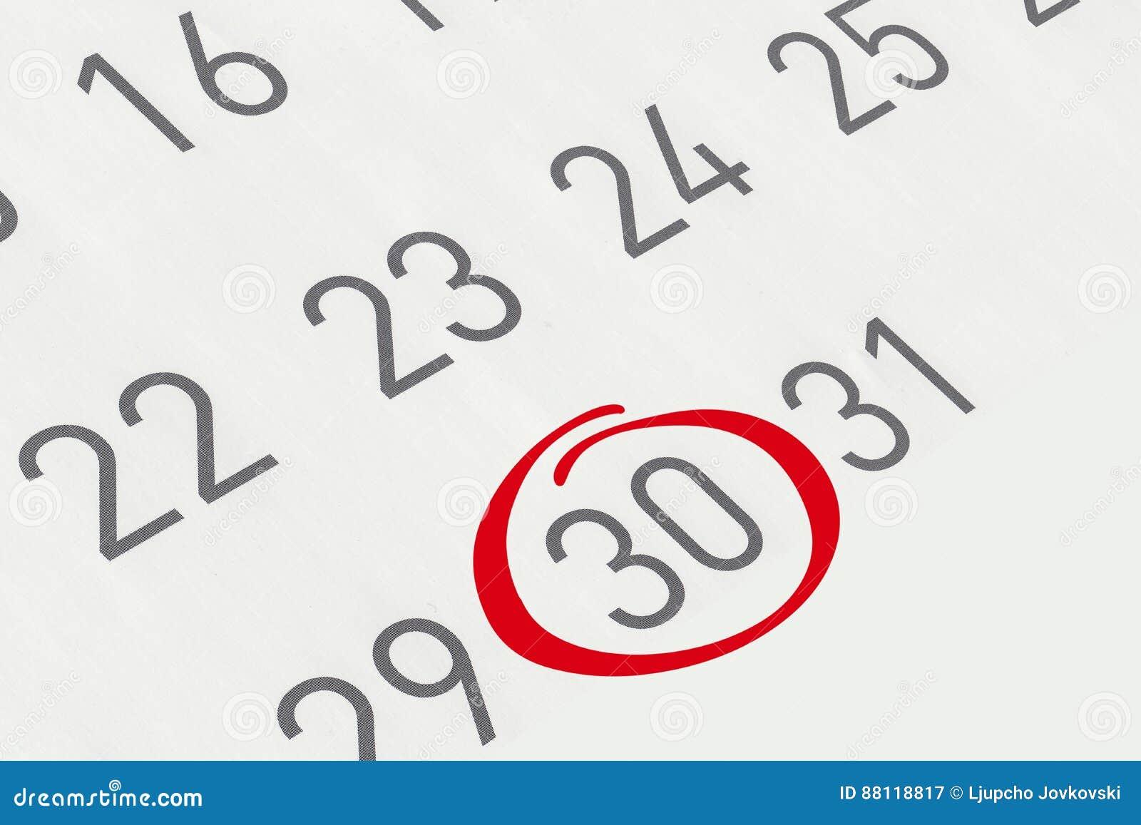 Marque a data número 30