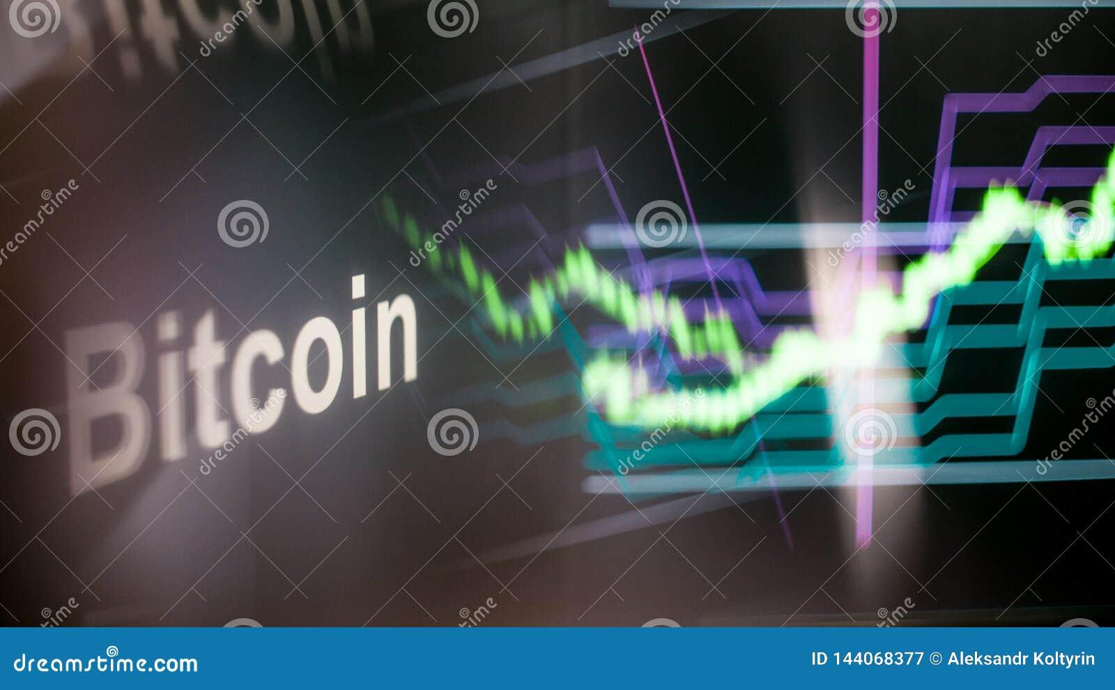 Marque de Bitcoin Cryptocurrency Le comportement des échanges de cryptocurrency, concept Technologies financières modernes