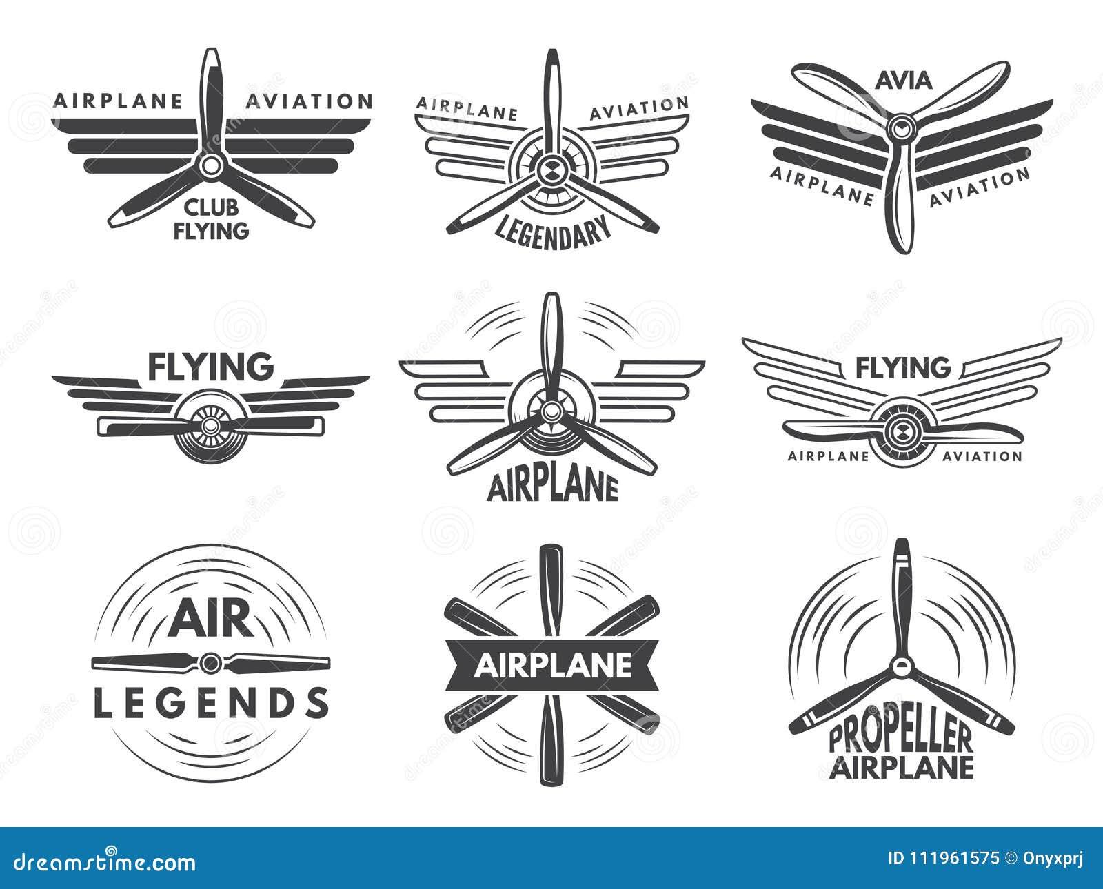 Marque des logos pour l aviation militaire Symboles d aviateur dans le style monochrome