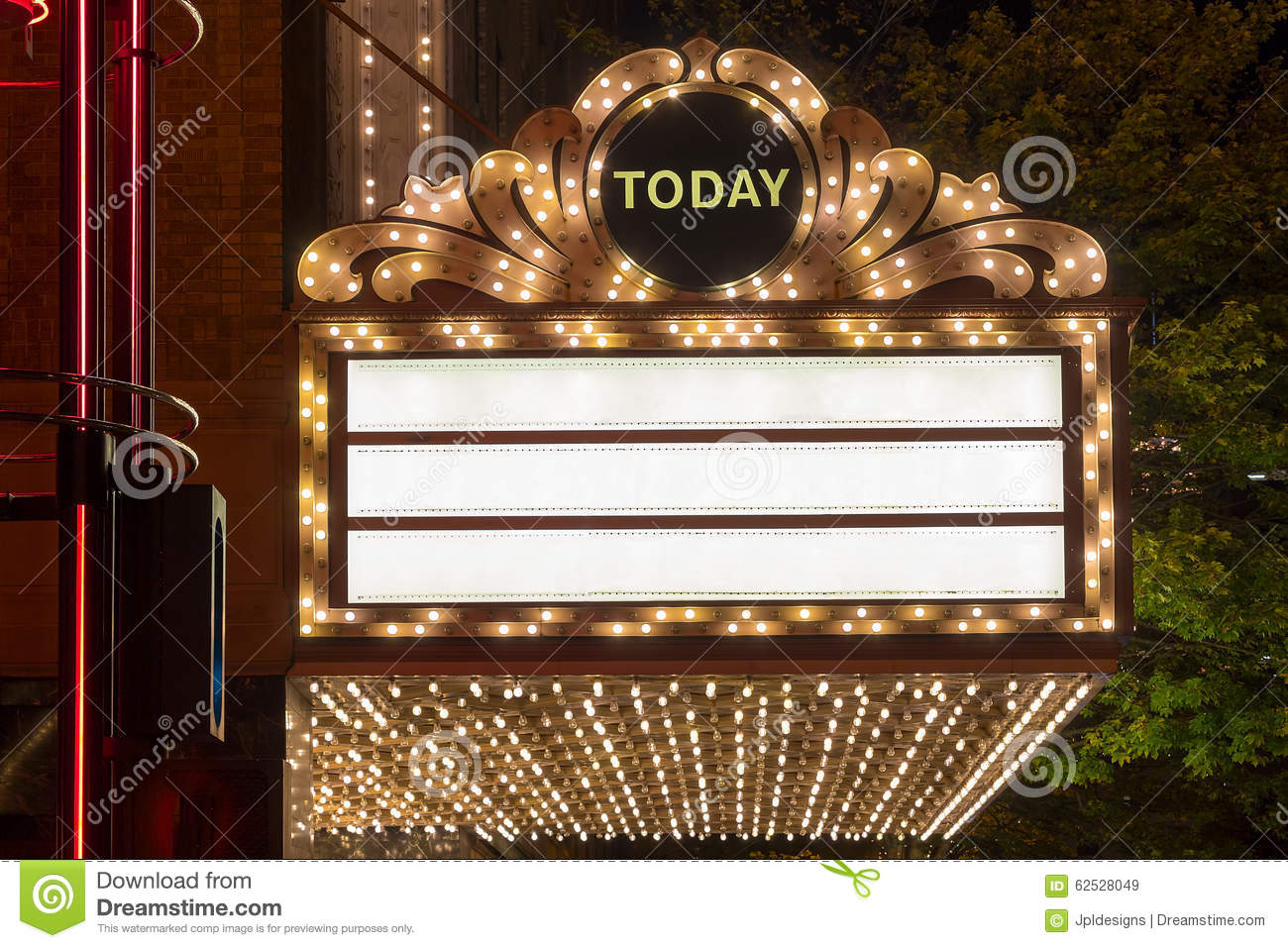 Marquee Lights At Broadway Theater Exterior Stock Image
