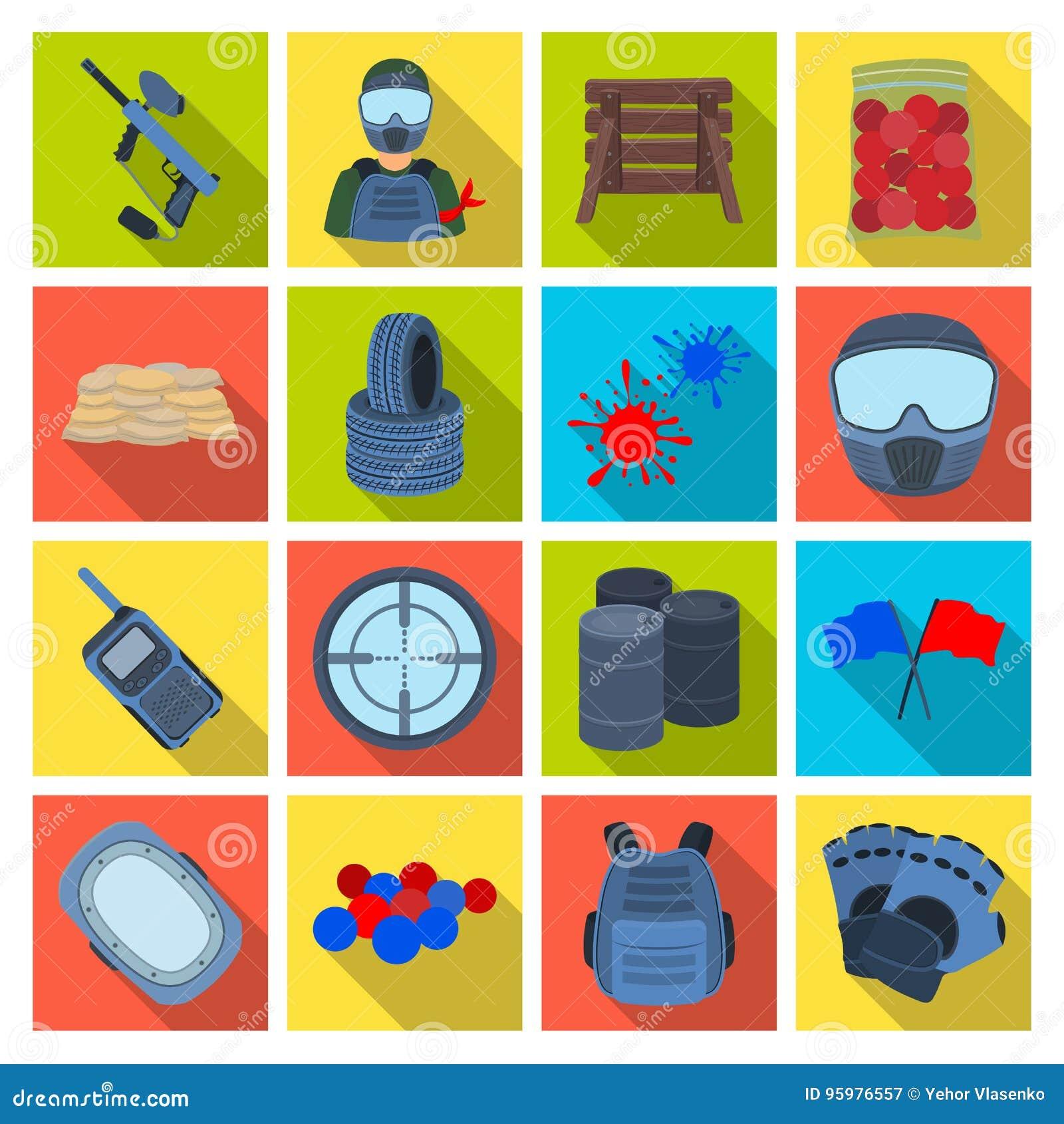 Marqueur pour le paintball, l équipement, les boules et d autres accessoires pour le jeu Icône simple de Paintball dans le vecteu