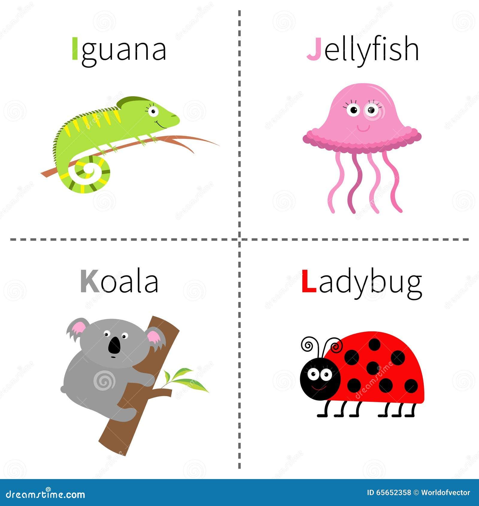 marquez avec des lettres i j k l alphabet de zoo de coccinelle de koala de m duses d 39 iguane abc. Black Bedroom Furniture Sets. Home Design Ideas