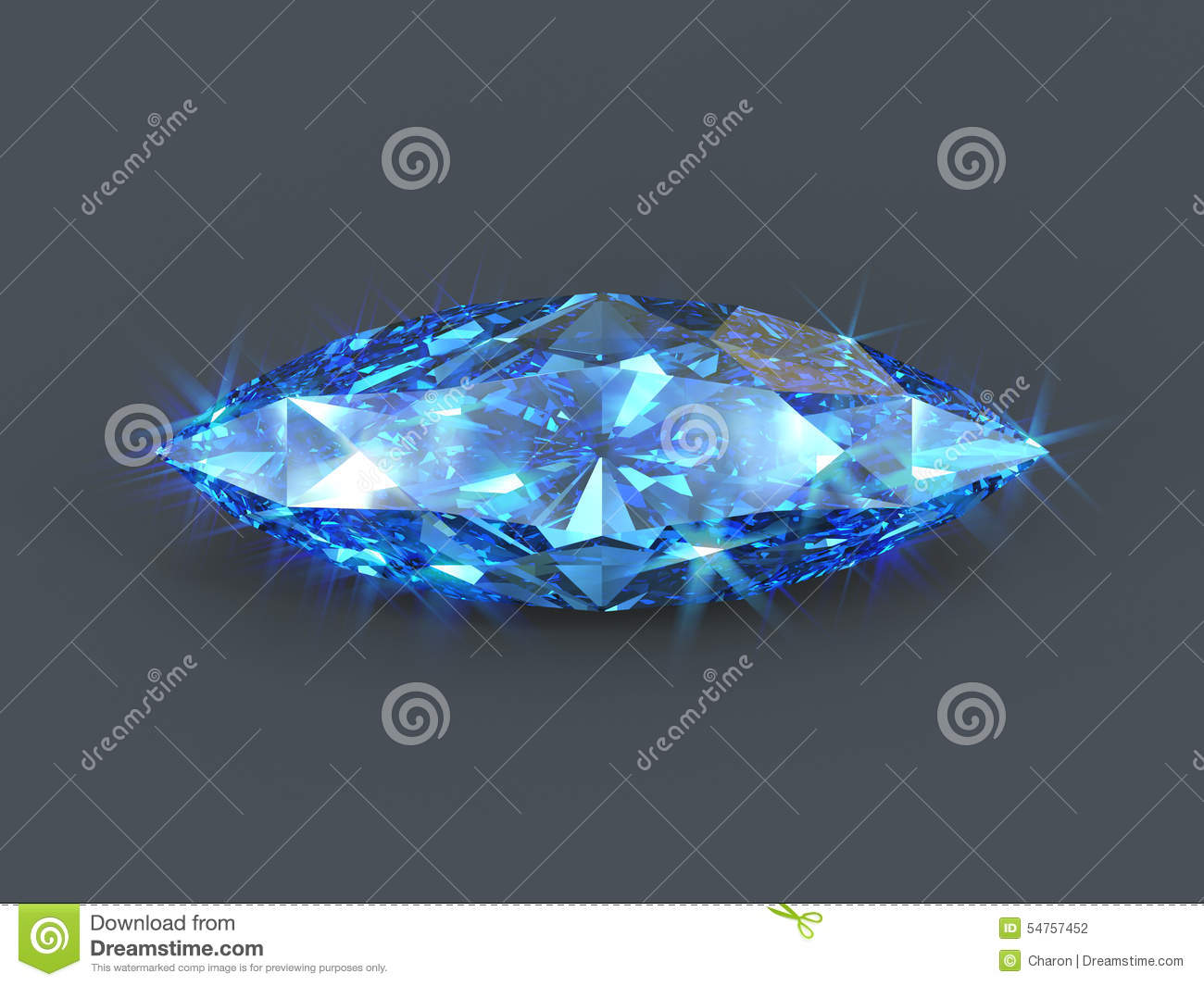 Sapphire Marquise Cut Isolated Gem Stock Illustration