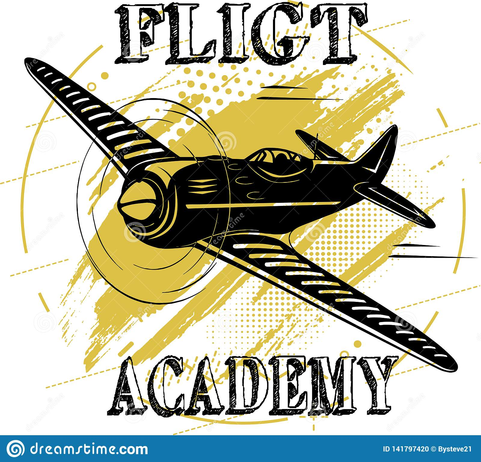 Marrón plano del diseño de la academia del vuelo viejo
