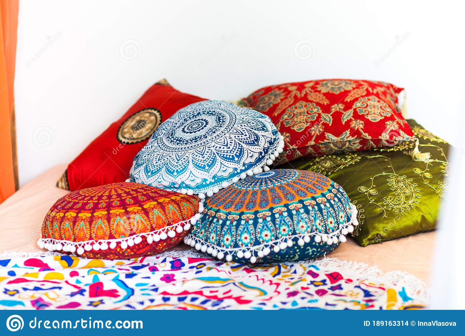 Marrakech Bedroom In Bright Colors With Home Plants Stock Photo Image Of Pillow Interior 189163314