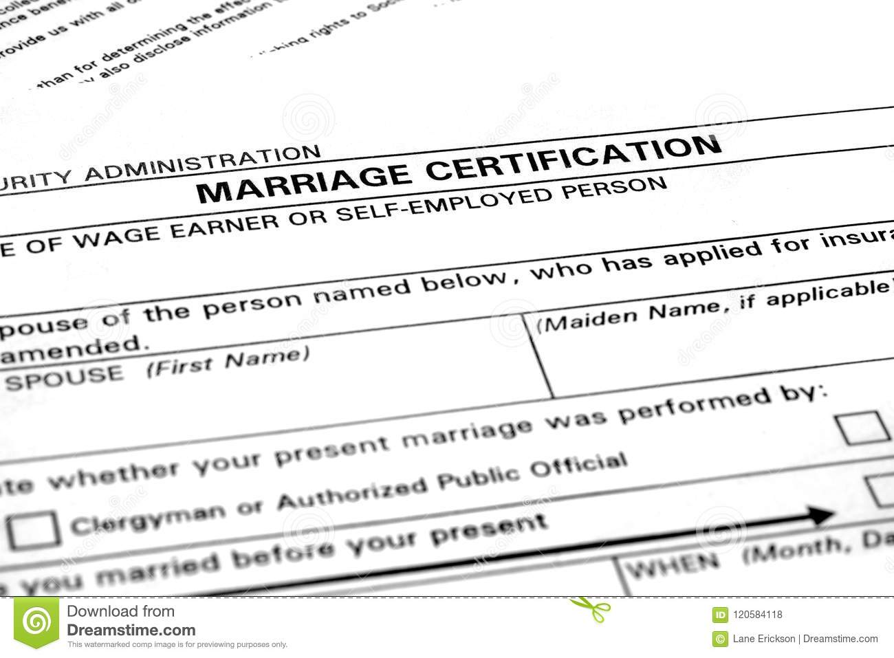 Marriage Certificate Certification Paperwork For Nuptials Stock