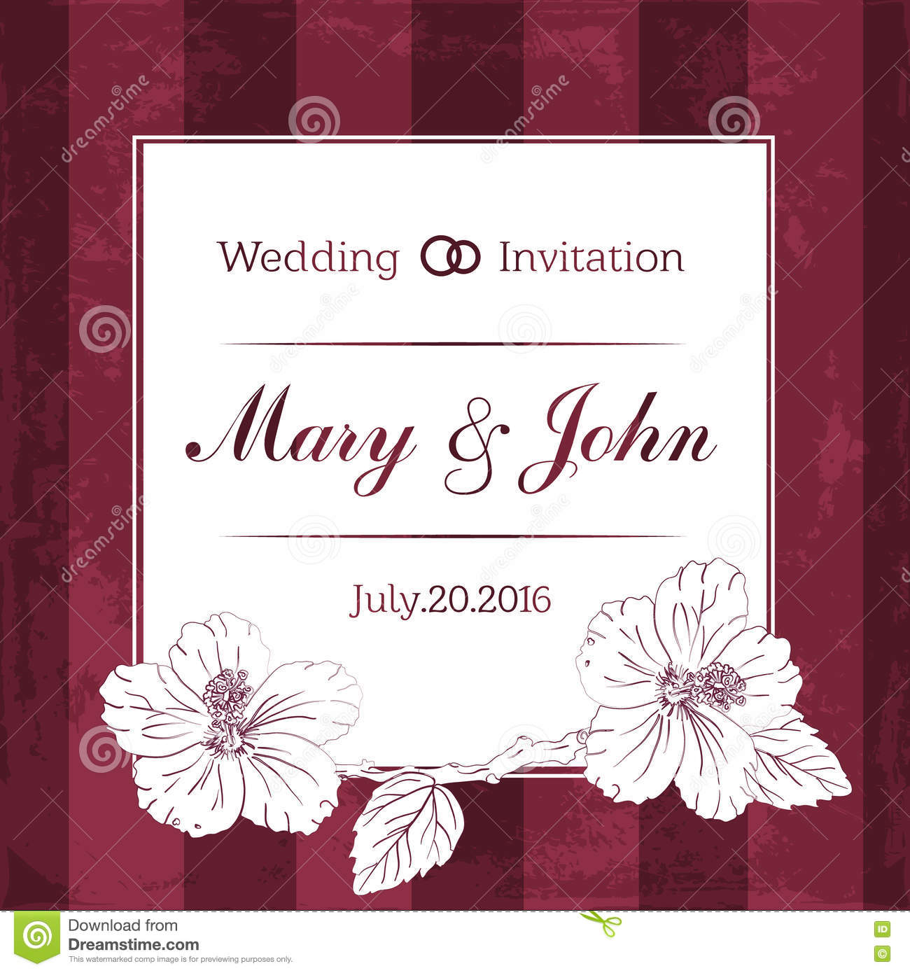 marriage design template with custom names in square frame flowers