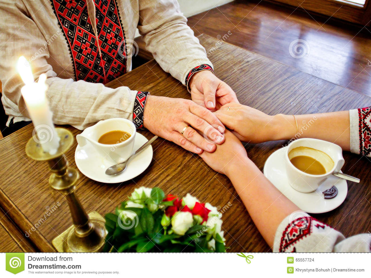 Marriage  Gentle Touch Of Hands Stock Photo - Image of cosiness