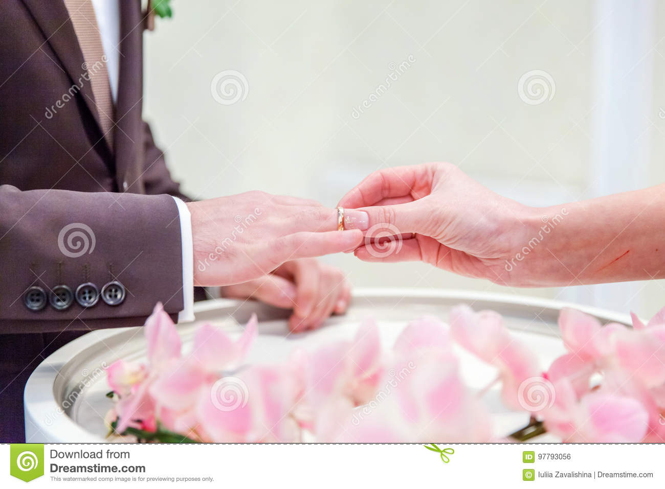 The Bride Wears A Ring To The Groom Stock Photo - Image of ...