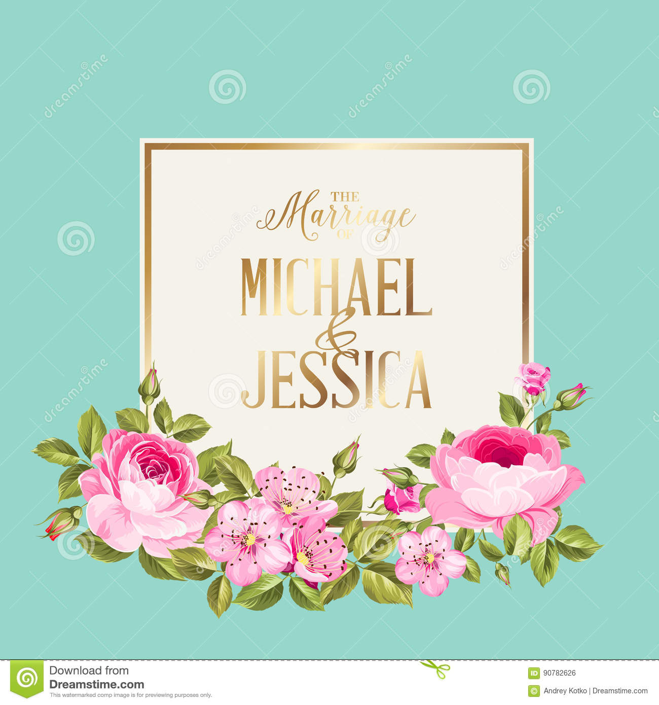 Marriage Invitation Card Stock Vector Illustration Of Gold 90782626