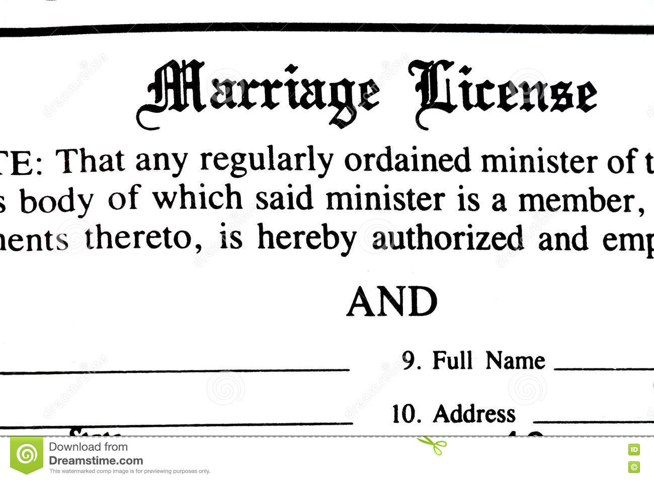 Copy Of Marriage License Request Form For A Confidential: Marriage License Form Stock Image. Image Of Certificate