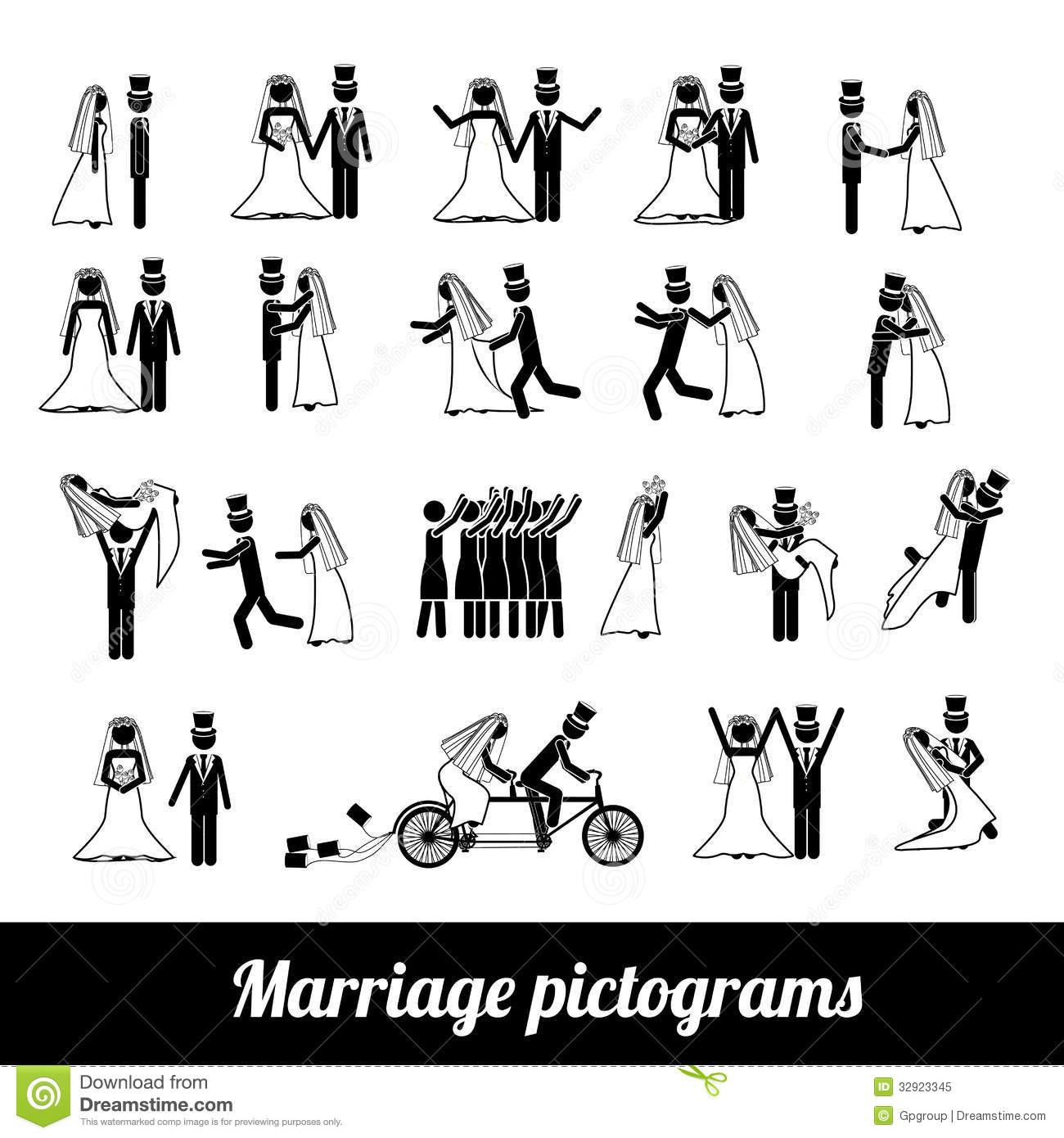 Marriage Pictograms Royalty Free Stock Photo - Image: 32923345