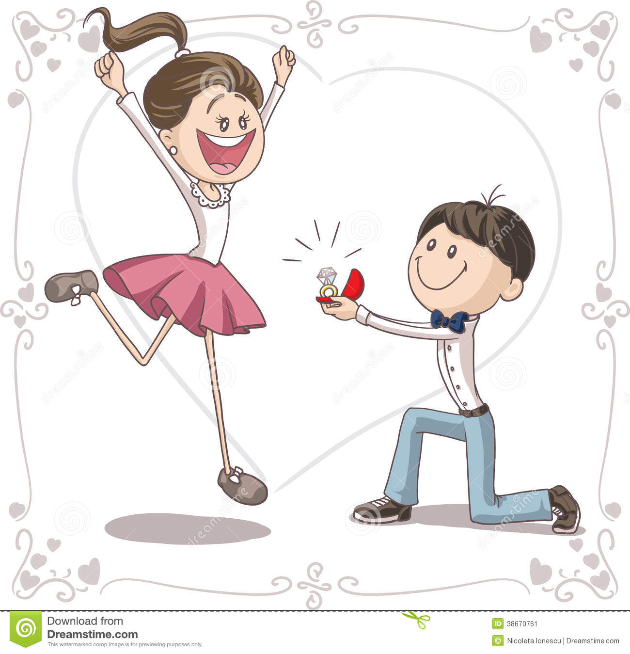 Vector cartoon of a cute young man proposing to a very happy bride-to ...