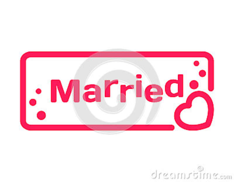 Married Badge With Heart Icon Flat On White Background Wedding