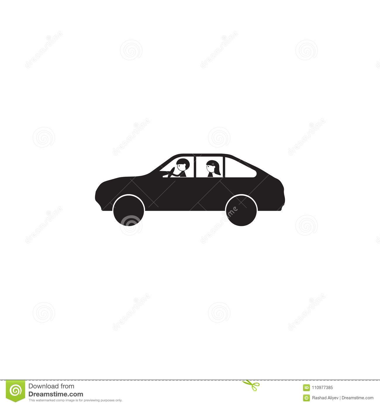 Married Couple In The Car Icon. Illustration Of Family