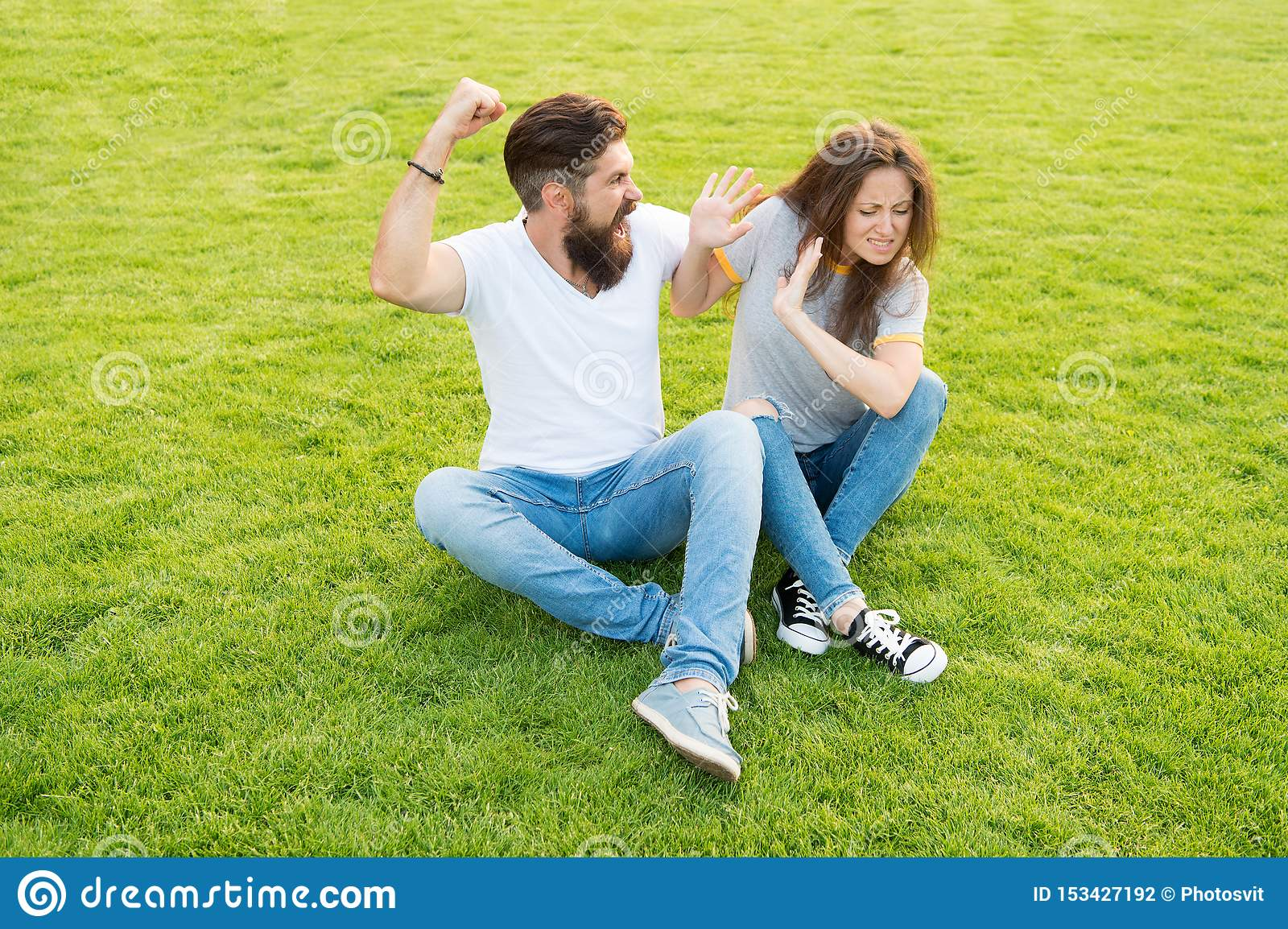 Married couple do not get along with each other. divorce. woman afraid of her aggressive boyfriend. bearded man beating