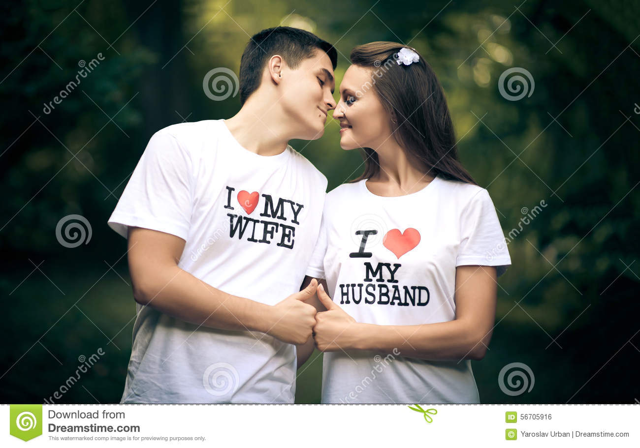 Married Couple Wiht Words I Love My Wife And Stock Photo Image Of