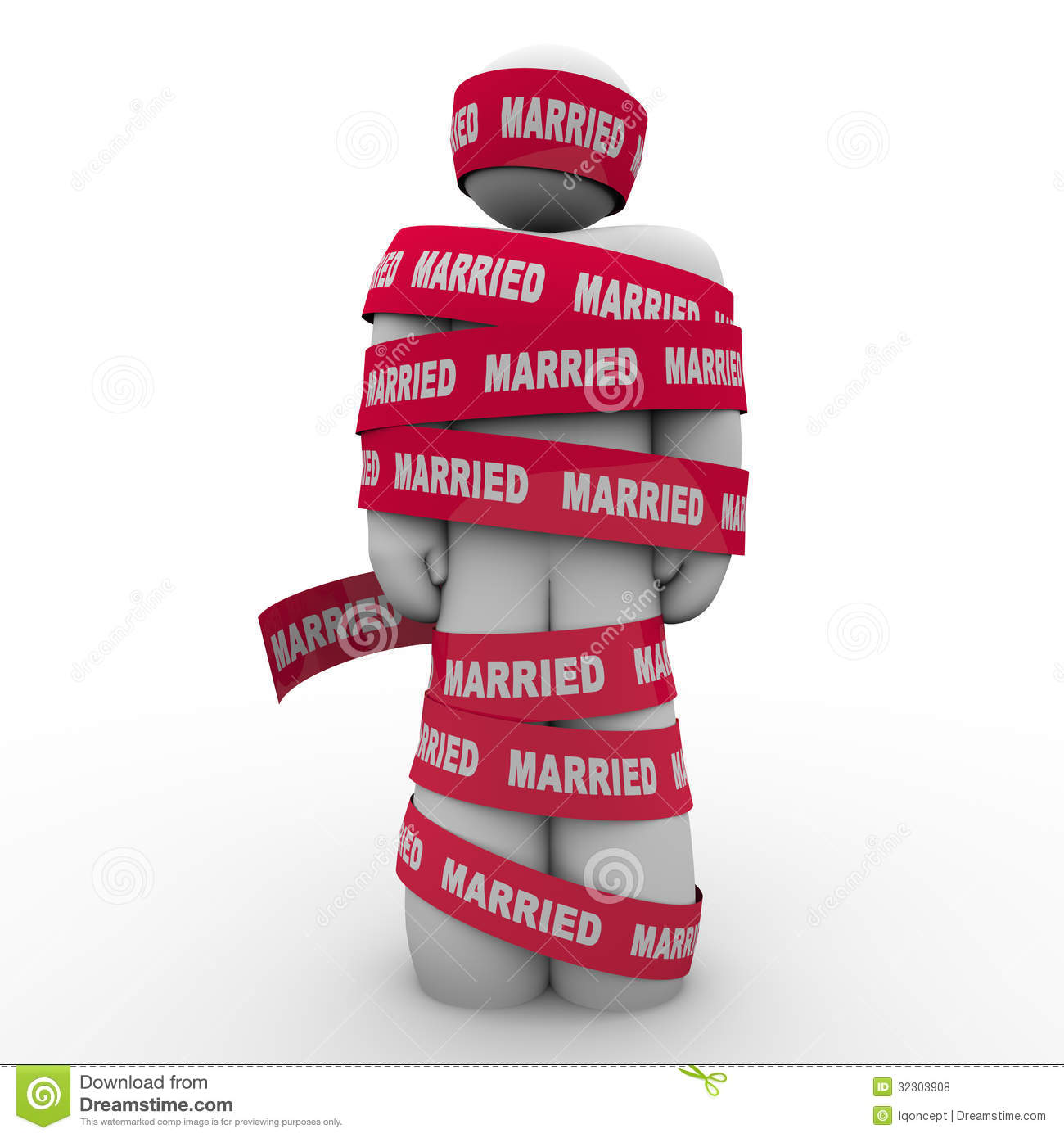 Married Man Wrapped Red Tape Prisoner Trapped PersonUnhappy Married Man