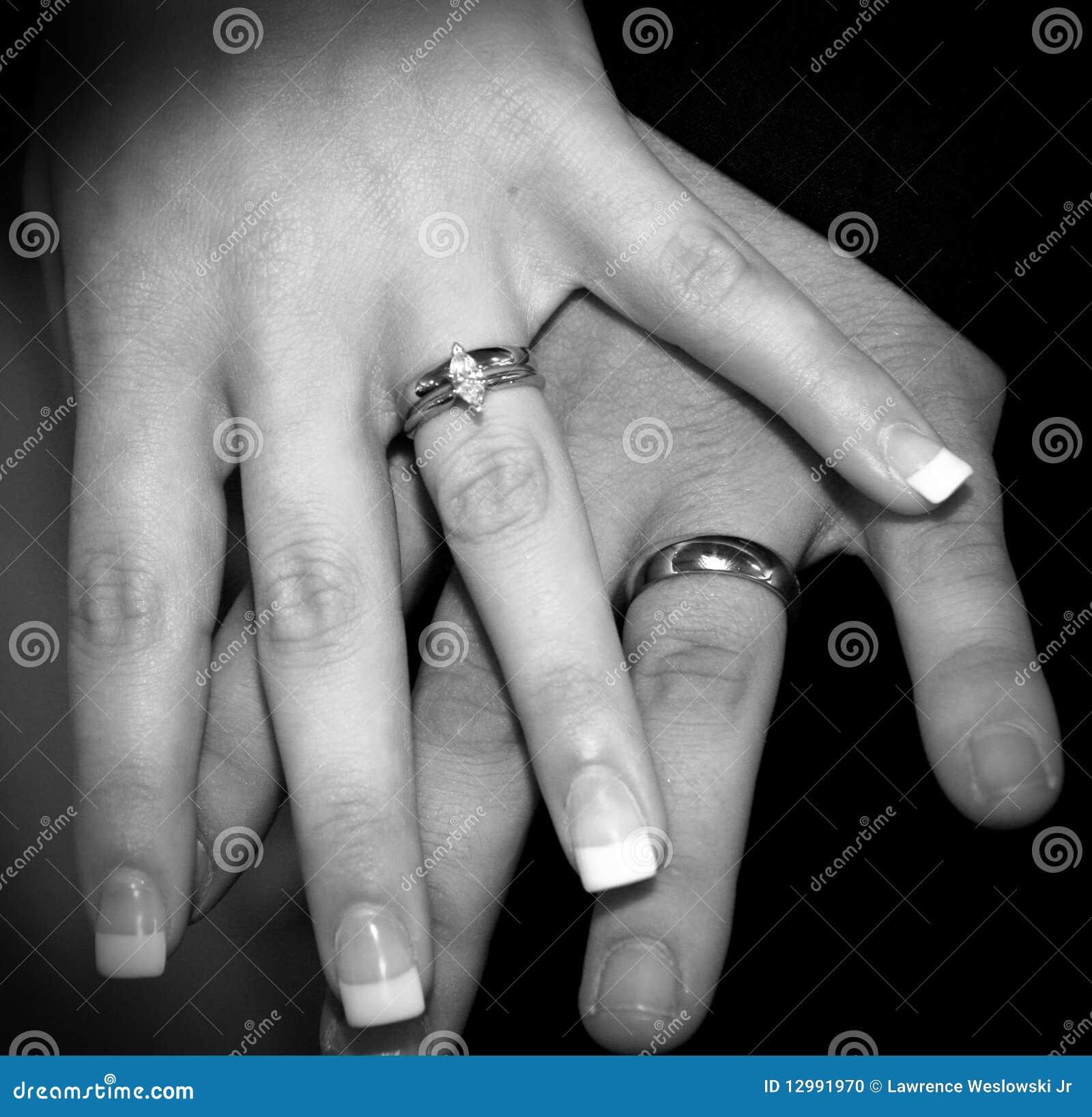 Marrige Bride Groom Hands With Wedding Rings Stock Photo Image
