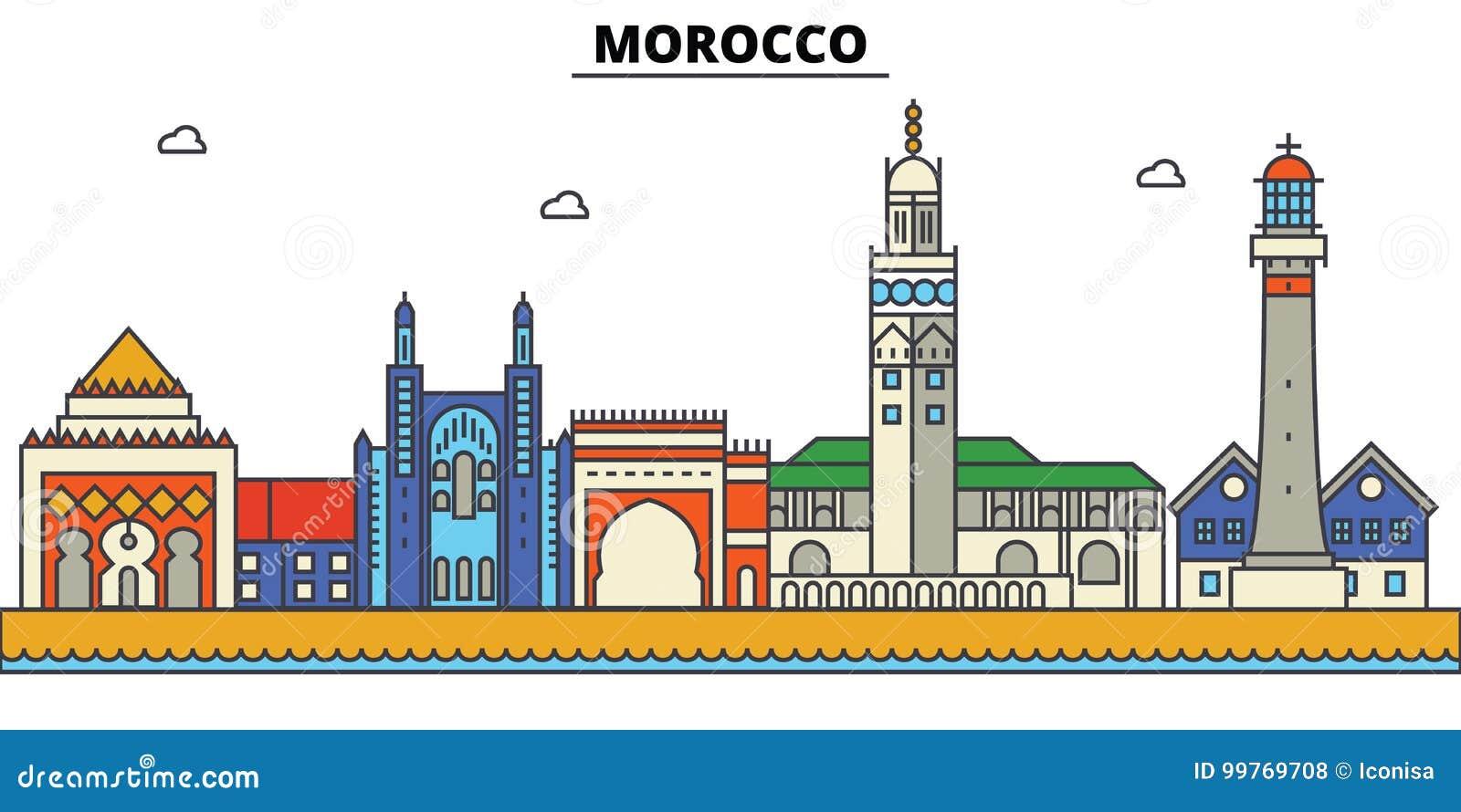 Marrocos, Arquitetura da skyline da cidade Cursos editáveis
