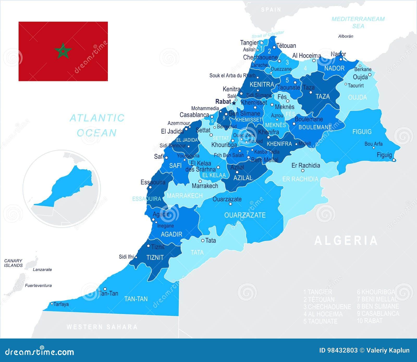 Mapa De Marruecos Ciudades.Marruecos Ejemplo Del Mapa Y De La Bandera Stock De