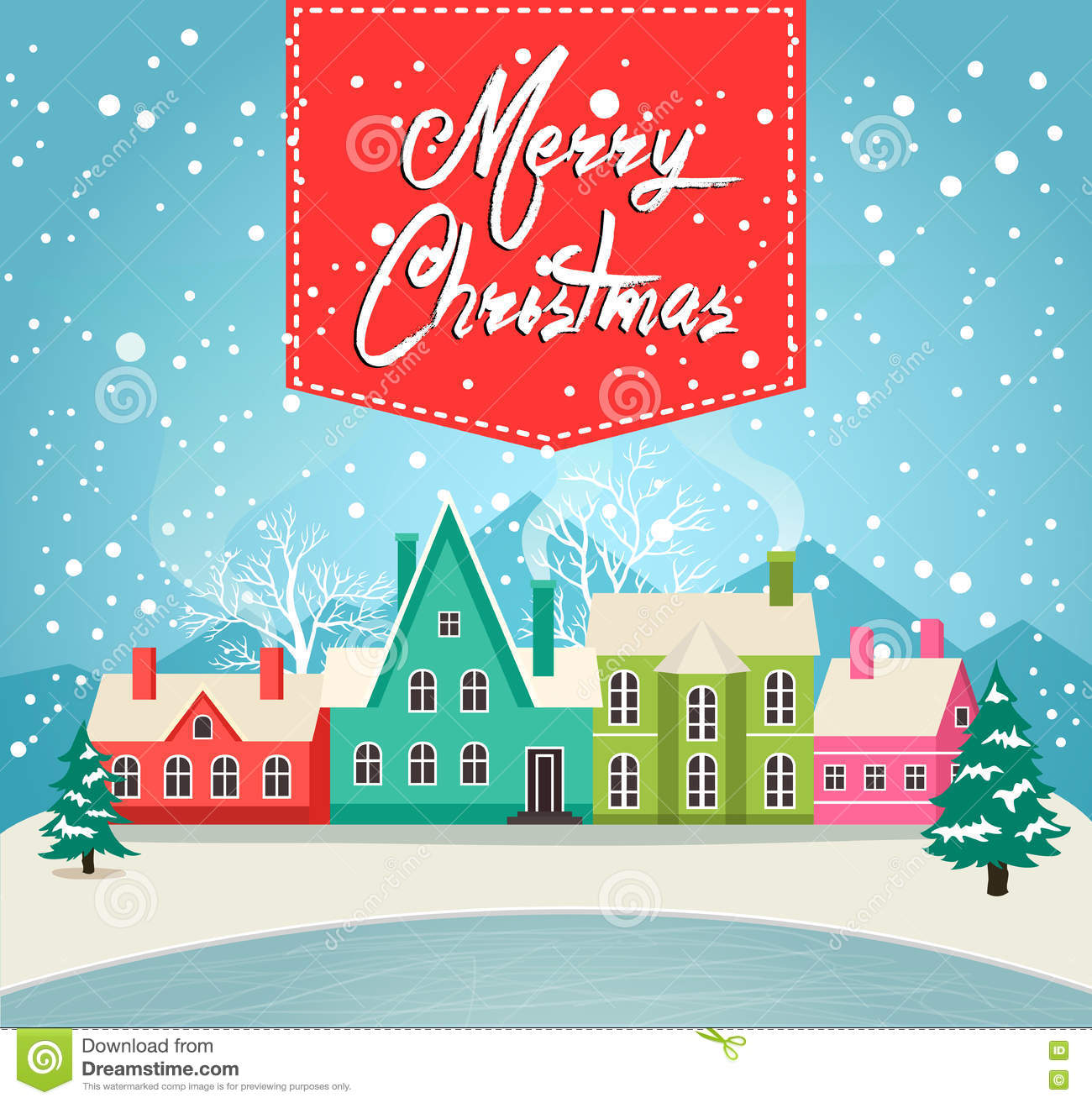 Marry Christmas Greeting Card With Village Stock Vector