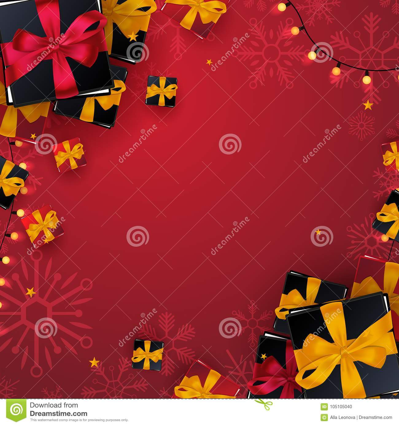 download marry christmas and happy new year banner on red background with snowflakes and gift boxes
