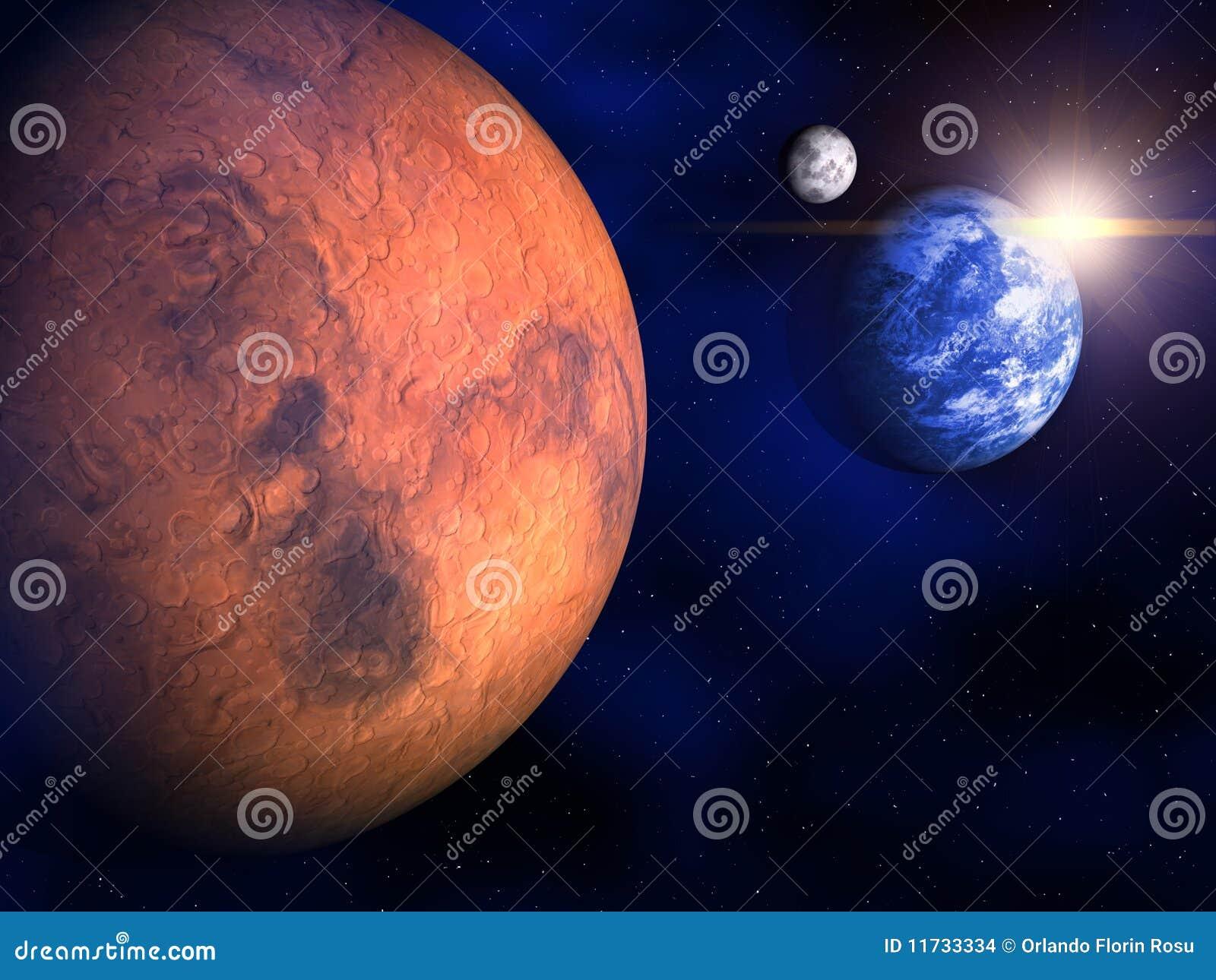Mars, Aarde en de Maan