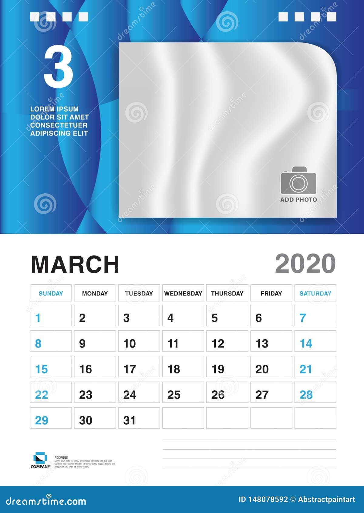 Modele De Calendrier 2020.Mars 2020 Calibre D Annee Vecteur Du Calendrier 2020
