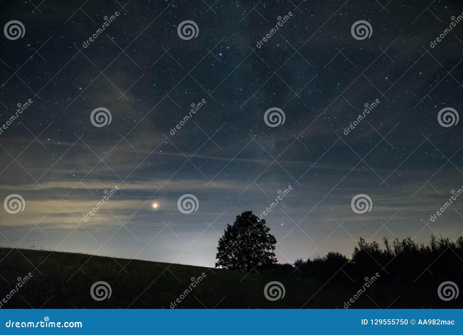 Mars en melkachtige manier achter boomsilhouet