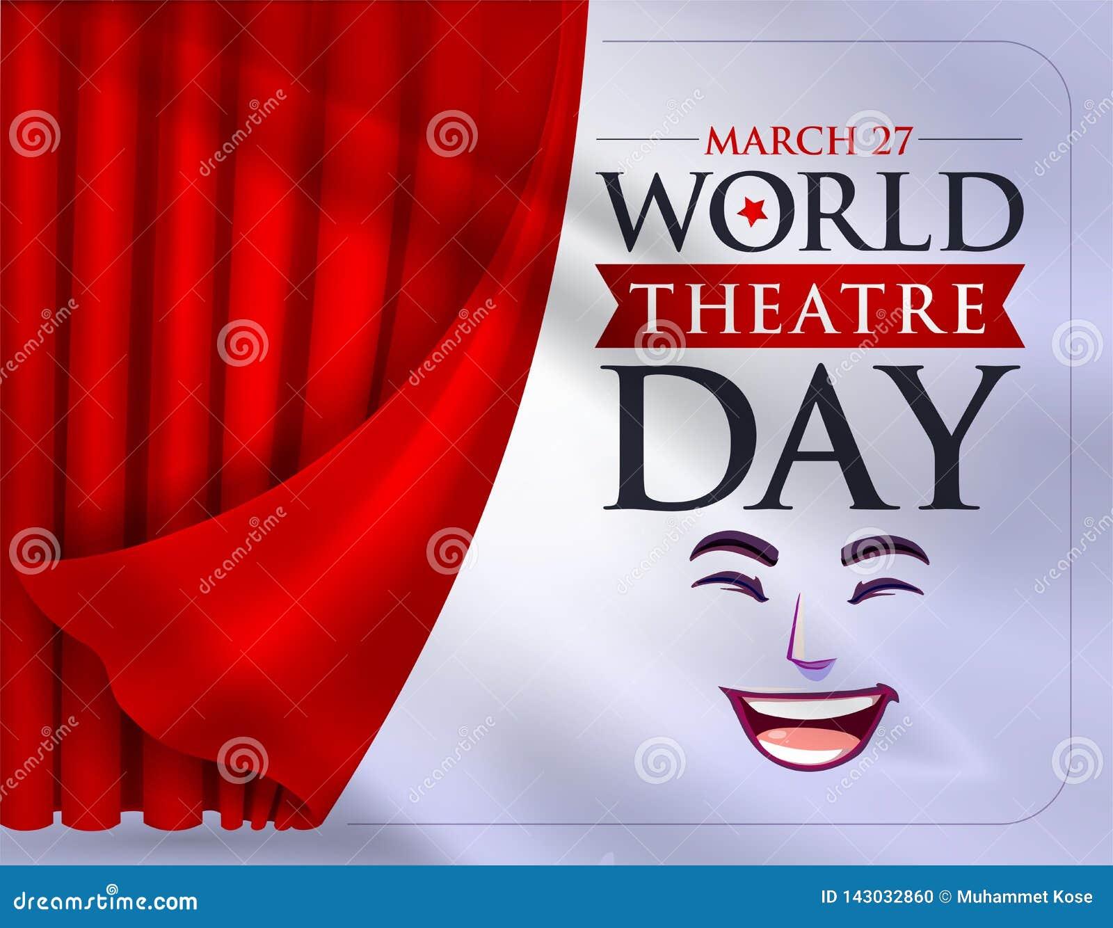 27 mars, jour de théâtre du monde, carte de voeux de concept, avec des rideaux et la scène avec v rouge