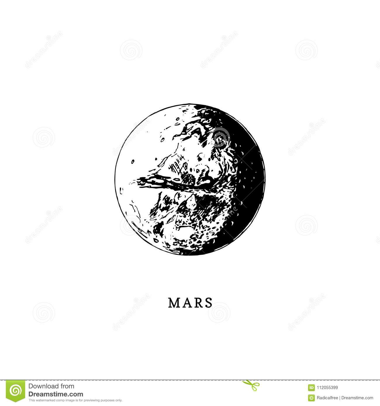 Mars Planet Image On White Background. Hand Drawn Vector ...
