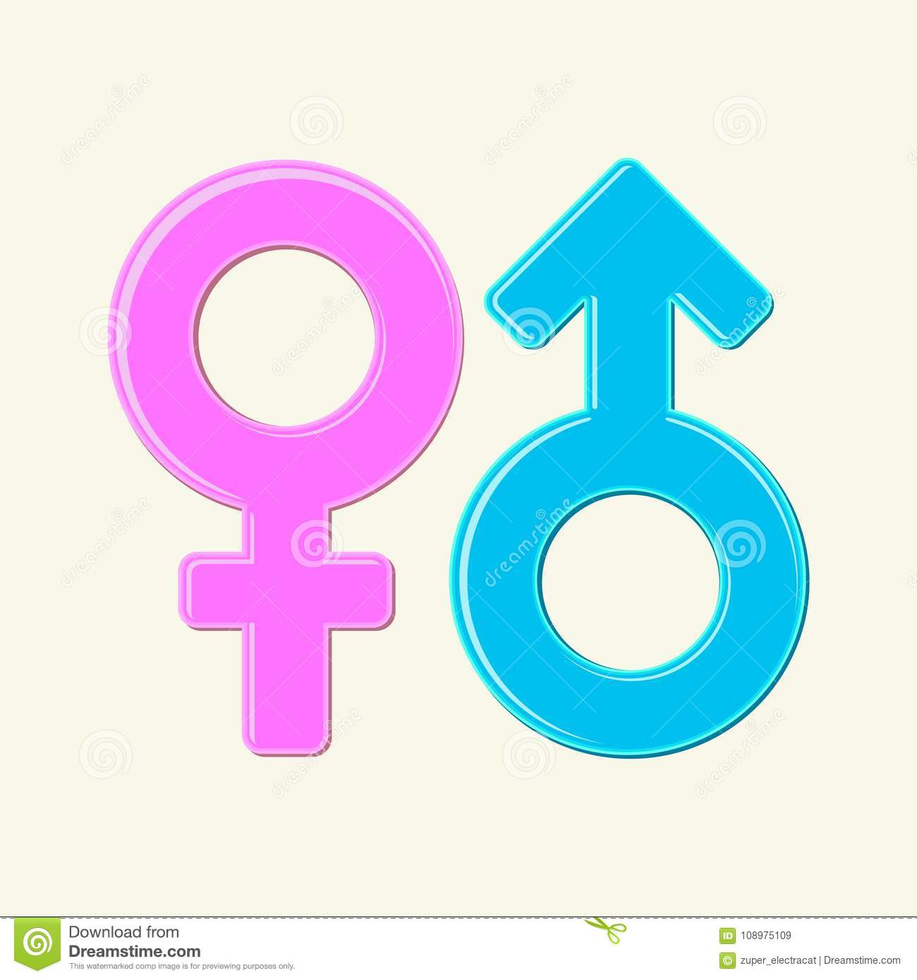 The Mars And Venus Symbols Male And Female Signs Isolated Blue And