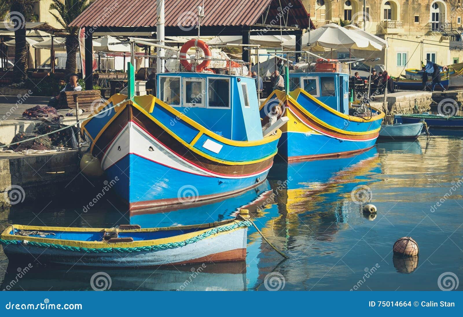 Marsaxlokk famous fishing boats called Luzzu - Malta