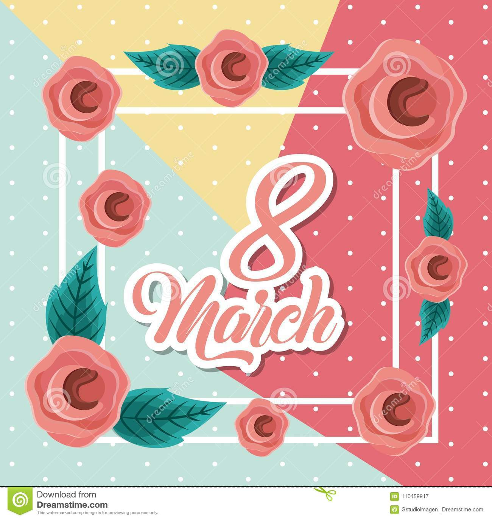 Marschera 8 internationella kvinnors bilden för kortet för daghälsningen den blom-