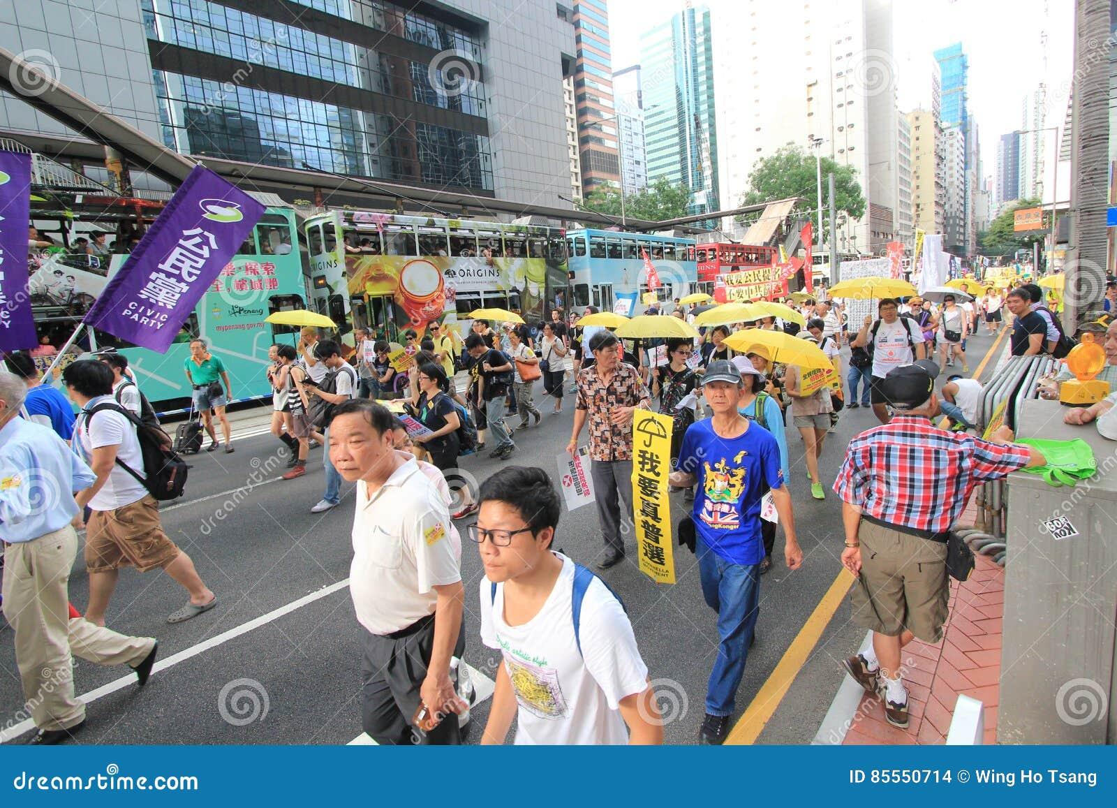 Marschieren Hong Kong-Aktivisten 2015 vor Abstimmung auf Wahlpaket