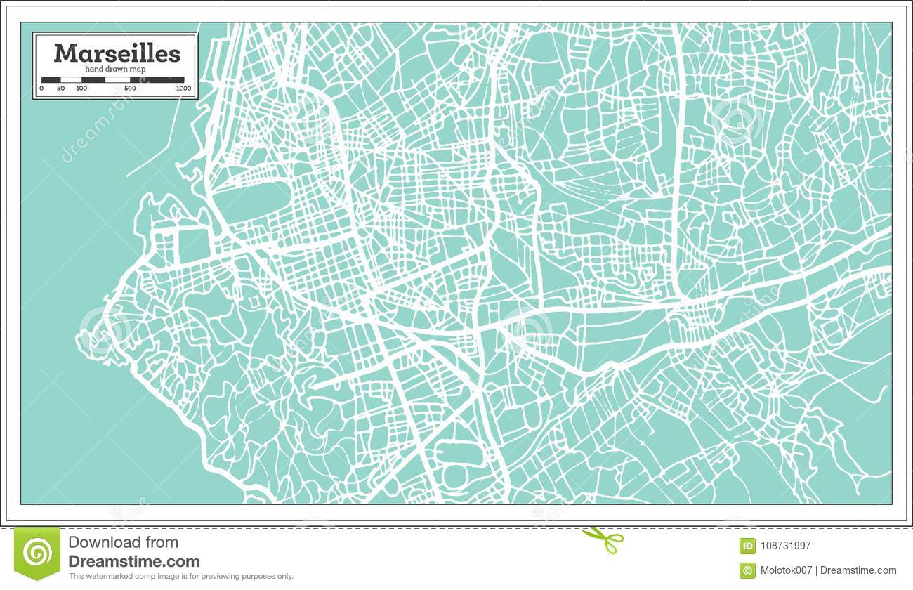 Marseille France City Map In Retro Style Outline Map Stock Vector