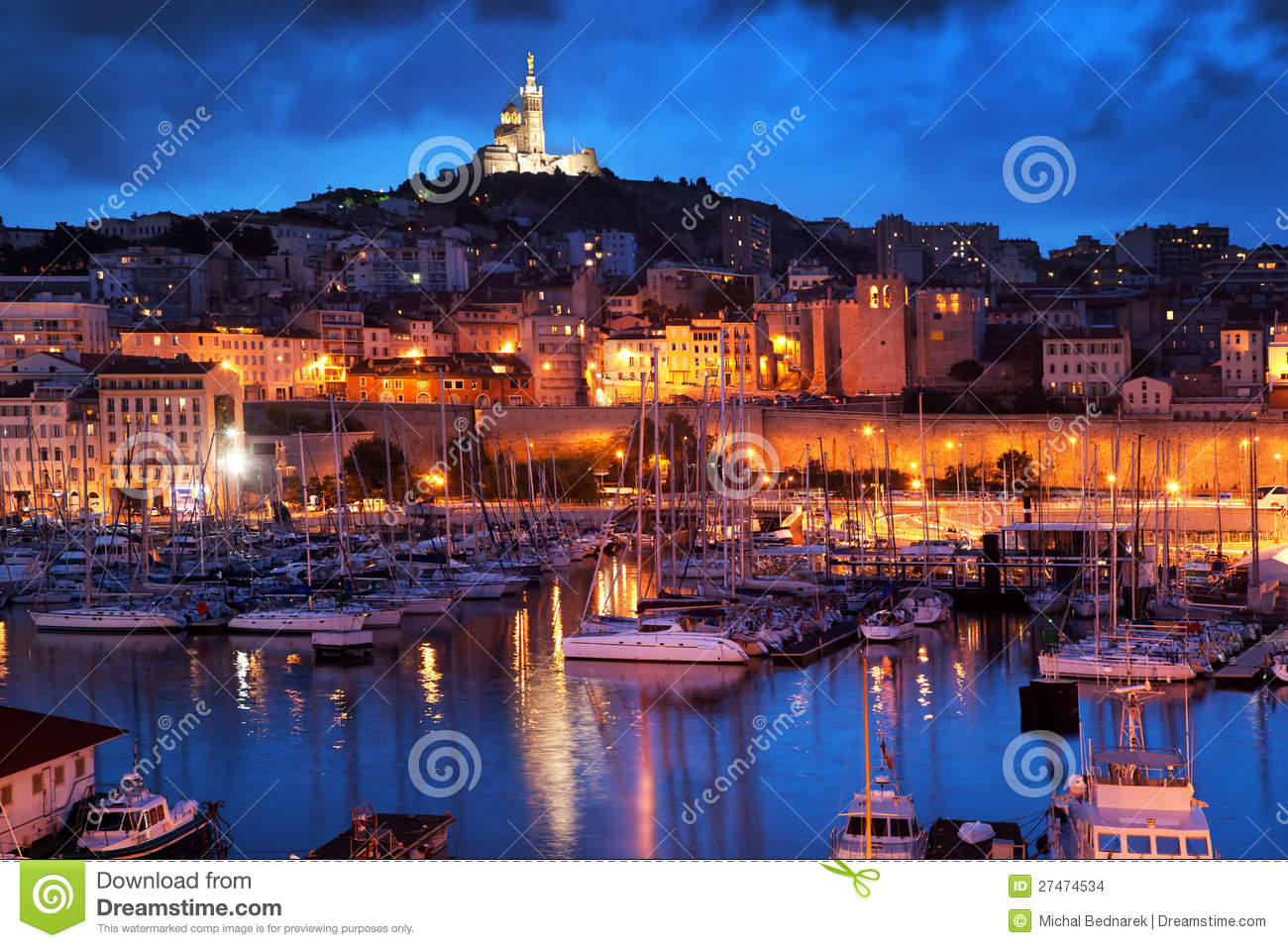 marseille france panorama at night stock photo image. Black Bedroom Furniture Sets. Home Design Ideas