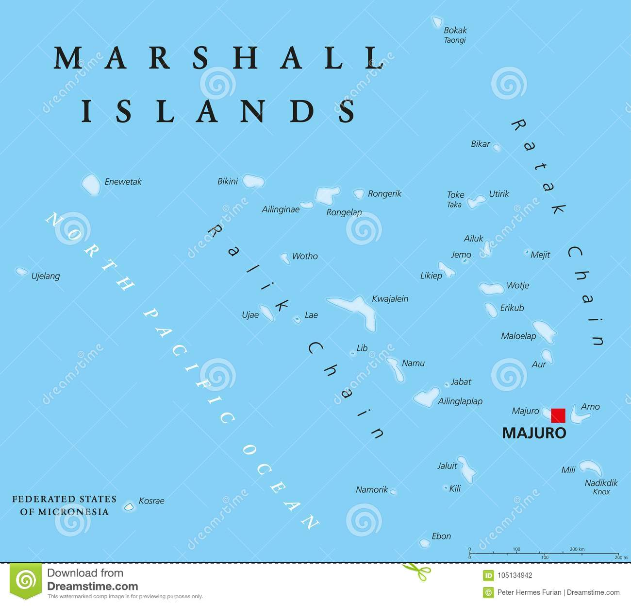 Marshall Islands Political Map Stock Vector - Illustration of ...